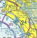 Hayward airport depicted on San Francisco sectional chart.